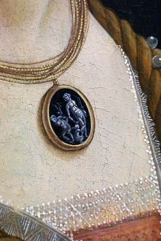 """Idealized Portrait of a Lady (aka Portrait of Simonetta Vespucci as a Nymph)"" (detail), c. 1480, Sandro Botticelli."