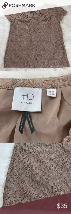 """HD in Paris anthropologie top size large HD in Paris tan/brown short sleeve top size large. Gently used condition. Bust 20"""", length 23"""". Anthropologie Tops Blouses"""
