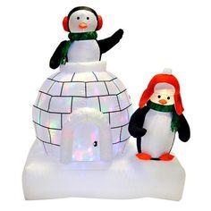 Inflatable Christmas Decoration 5Ft LED Lighed Airblown Outdoor Penguins Igloo #SmartDealsMarket