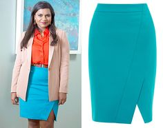 Mindy wore this turquoise wrap skirt in tonight's season premiere of The Mindy Project. /// Karen Millen Wrap Pencil Skirt (sold out)