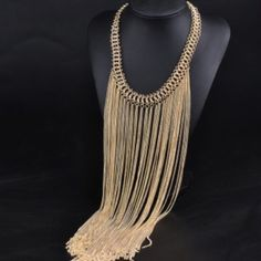 Long Golden Fringe Necklace Beautiful and new! Jewelry Necklaces