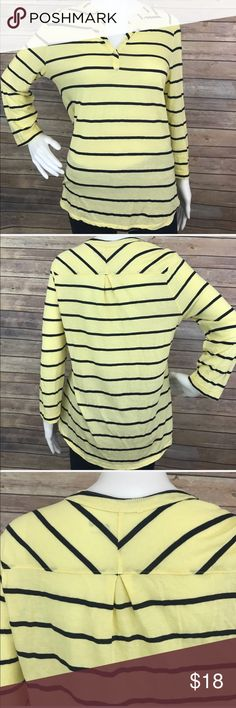 "Three dots Long Sleeve Striped Shirt Top •Details• Y neck line. Longer rounded hem.  •Condition•EUC no flaws to note •Material•100% cotton •Color•pale yellow, navy blue  All measurements are taken while item is laying flat and are approximate  •Armpit-Armpit•20"" •Length•27""  I consider ALL offers!  Don't be shy! No Trades Three Dots Tops Tees - Long Sleeve"