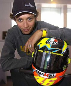 "All because of my husband, I know that Valentino ""The Doctor"" Rossi, who was a close friend to the late Marco Simoncelli, is one of the great riders of the Moto GP. Motogp Valentino Rossi, Valentino Rossi 46, Vr46, Foto E Video, Image, Goat, Rossi Motogp, Bike Helmets, 1957 Chevrolet"