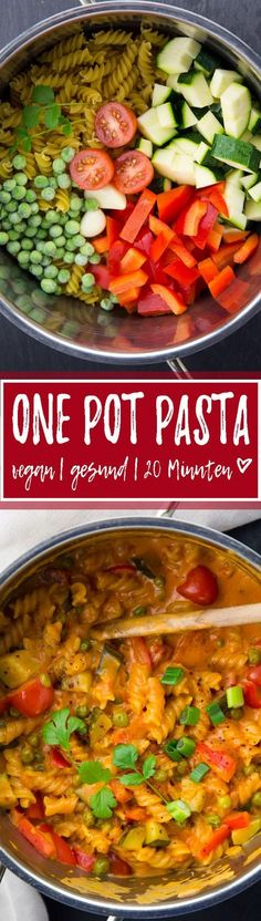 Diese vegane One Pot Pasta mit Kokosmilch und roter Curry Paste ist perfekt wenn es mal schnell gehen muss. Super einfach, gesund und unglaublich lecker!