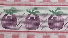 Pano de prato DOHLER Verona bordado em ponto oitinho  Motivo; tomates