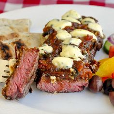 Blue Cheese Steak Puttanesca - Grilled steak with a quick cooked puttanesca sauce and melting blue cheese...or try any favourite smoked cheese instead.