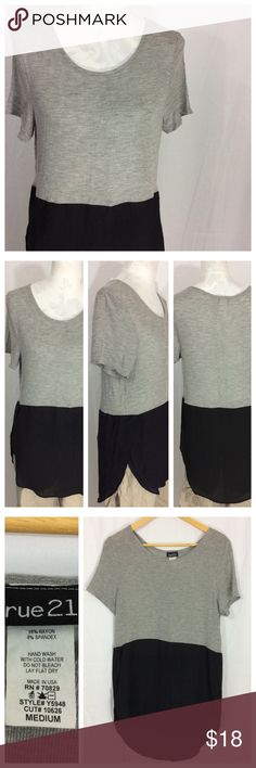 Colorblock Top NWOT Heather grey knit top with Colorblock slightly sheer black lower. Scoop neck and short sleeves. Very long hi/lo hem, covers booty and goes great with leggings. Size M, fits generous. 19\