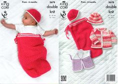 King Cole 3678 Knitting Pattern Baby Child snuggle cocoon cardy jacket hat  12-16 inched (31-41cm) DK new by Bobbinswool on Etsy