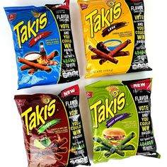 Takis' Flavor Challenge if you vote for your favorite you could win a prize. 4 new flavors: Lava Wild Titan and Angry Burger. Gourmet Food Store, Gourmet Recipes, Snack Recipes, Corn Chips, Potato Chips, Mexican Snacks, Japanese Snacks, Mixed Nuts, Cook At Home
