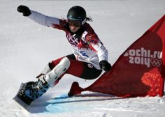 DAY Caroline Calve of Canada competes during the Snowboard Ladies' Parallel Giant Slalom. Snowboarding Olympics, At A Glance, Calves, Canada, Lady, Baby Cows, Tone Calves