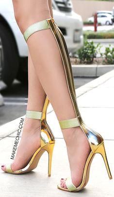 Metallic Strappy Knee High Heels GOLD