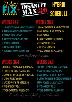 Insanity max 30 & 21 day fix extreme hybrid schedule. Workout Calendar, Workout Schedule, Insanity Schedule, Workout Ideas, Workout Plans, Workout Routines, Workout Guide, 21 Day Fix Workouts, At Home Workouts