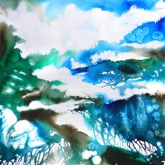 "Cristina Dalla Valentina ""Blue Horizons""  abstract landscape painting on paper"