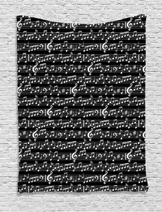 Black Tapestry Music Decor Wall Hanging by Ambesonne, Musical Notes and Clef Sheet Pattern Artsy Decorations Abstract Print, Bedroom Living Room Dorm Decor, 60 W x 80 L Inches, Black and White >>> You can find out more details at the link of the image. (This is an affiliate link and I receive a commission for the sales)