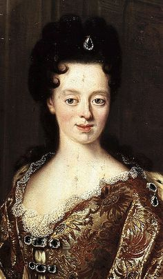 Anna Maria Luisa de' Medici, Electress Palatine (1667-1743) ~ the daughter of Cosimo III and Marguerite Louise d'Orléans. She married John William, Elector Palatine of the Rhine of the Rhine in Düsseldorf in 1691 but returned to Florence in 1717 after his death. She survived her brother Gian Gastone de' Medici, the last Grand Duke, and remained the only Medici after Tuscany passed to the Duchy of Lorraine in 1737.