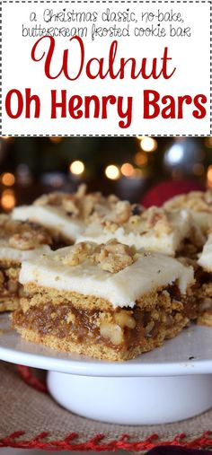 Walnut Oh Henry Bars - Lord Byron's Kitchen. 1 serving is 10 PP. Baking Recipes, Cookie Recipes, Dessert Recipes, Bar Recipes, Recipies, Baking Ideas, Healthy Recipes, Cake Bars, Dessert Bars