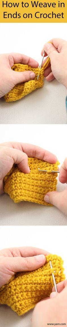 How to Weave in Ends on Crochet •*¨`*•✿Teresa Restegui http://www.pinterest.com/teretegui/✿•*¨`*•