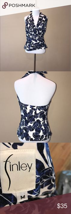 Anthropologie Finley halter top size M Cute Anthropologie Finley blue and white cotton print halter top. Adjustable halter neck but has button fasten inside and outside. Waist is 14 inches. Top length is 22 inches. No flaws. No trades but offers are welcome! Anthropologie Tops