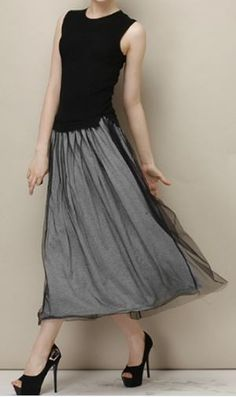 Black and Grey dress with black overlay.  Very classy