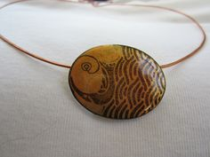 copper enamel oval pendant