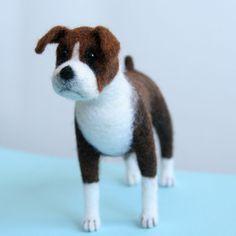 OOAK needle felted brindle BOXER dog by Sophie Z.