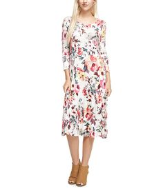 Look what I found on #zulily! Reborn J Ivory & Coral Floral Three-Quarter Sleeve Shift Dress by Reborn J #zulilyfinds