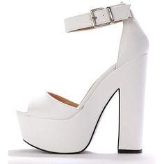 Madison White Platform Sandal ($7.81) ❤ liked on Polyvore featuring shoes, sandals, white, platform shoes, summer platform shoes, party sandals, going out shoes and white platform sandals