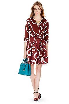 DVF Jewel Silk Combo Wrap Dress in in Giant Twirl Brown