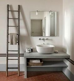 Old Ladder Design Ideas, Pictures, Remodel and Decor Grey Bathrooms, Beautiful Bathrooms, Modern Bathroom, Small Bathroom, Minimalist Bathroom, Bathroom Ladder, Luxury Bathrooms, Industrial Bathroom, Master Bathrooms