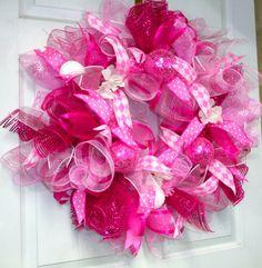 Baby Girl Wreath pink Girls room WreathBaby Shower by LisasLaurels