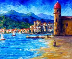 "Saatchi Online Artist Cristina Stefan; Painting, ""Collioure Lighthouse and Castle (France)"" #art"
