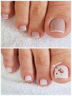 39 Fotos de Unhas com Flores Em Nails, Cute Toe Nails, Shellac Nails, Nail Polish Style, Nagellack Trends, Manicure E Pedicure, Toe Nail Designs, Beautiful Nail Designs, Nagel Gel