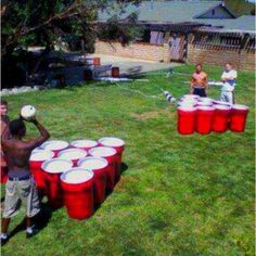 Not the classiest activity, but I know some people who would have a blast with this! Paint trash cans like Solo cups and use large balls for Mega Beer Pong.