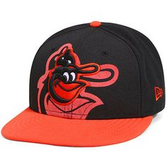 Youth New Era Black/Orange Baltimore Orioles Over Flock 59FIFTY Fitted Hat