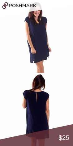 "Navy shift dress Adorable boutique shift dress!  Perfect for the office, out to dinner and everything in between!  100% rayon fabric makes it super soft. Lengths are as follows: Sm 33"", Med 35"", Lrg 36"". All For Color Dresses Mini"