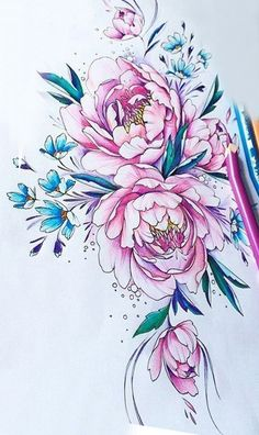 Flower Tattoo Designs, Flower Tattoos, Illustration Botanique, Peonies Tattoo, Art Floral, Fabric Painting, Beautiful Tattoos, Body Art Tattoos, Flower Art