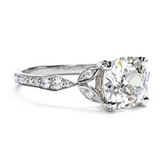 Greenwich Jewelers | Single Stone Old Mine Cut Diamond Ring with Vintage Detailing #drooling #vintage
