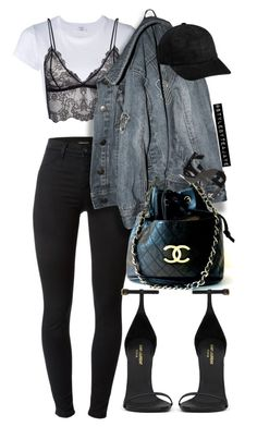 """Untitled #2392"" by stylebyteajaye ❤ liked on Polyvore featuring RE/DONE, J Brand, Anine Bing, Chanel and Yves Saint Laurent"