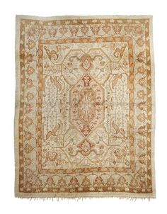 Oushak carpet West Anatolia dimensions approximately 13ft 10in x 11ft 8in (419 x 356cm)