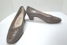 Ferragamo Calf Leather Taupe Reptile Dress Pumps Size US 7 B  #Ferragamo…