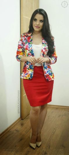 Add some color to your work wardrobe Casual Dresses, Casual Outfits, Cute Outfits, Fashion Outfits, Womens Fashion, Suits For Women, Clothes For Women, Look Blazer, Church Fashion