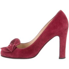 Pre-owned Christian Louboutin Suede Bow Pumps (£280) ❤ liked on Polyvore featuring shoes, pumps, burgundy, bow shoes, round cap, round toe pumps, burgundy suede pumps and christian louboutin shoes