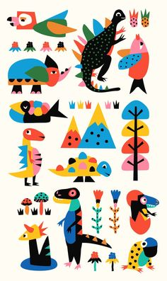 Colorful print style illustration of dinosaurs and reptiles Art And Illustration, Pattern Illustration, Illustrations And Posters, Art Indien, Posca Art, Art Design, Kids Graphic Design, Cover Design, Graphic Art