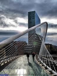Calatrava is the man, initially an engineer. Structural asymmetry.   Zubizuri Footbridge, Bilbao