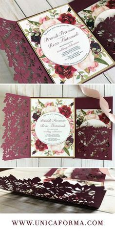 Marsala and blush wedding invitations. Marsala and gold wedding. Blush and gold wedding. Floral wedding invitations. Burgundy and blush wedding color palette. Maroon and blush wedding invitations. Laser cut invitations. Marsala and wine wedding invitations. Greenery wedding invitations. Boho wedding invitations. Pink wedding invitations. Formal wedding invitations. Rustic wedding. Chic wedding.