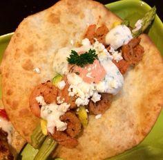Shrimp taco. Shrimp tortilla. Light, easy and yummy meal sauce: hummus and greek yogurt dressing