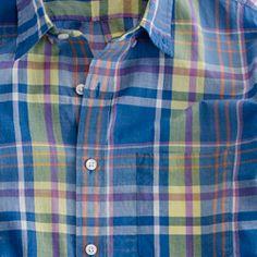 Indian cotton shirt in Shepley plaid medium