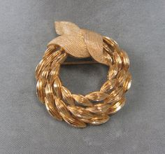 Vintage Monet brooch ridged gold-tone triple wreath circle pin #Monet