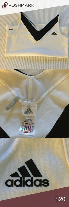 Adidas Clima-Lite Tank, Small Adidas Clima-Lite Tank, White and Black, Small, gently worn Adidas Tops Tank Tops