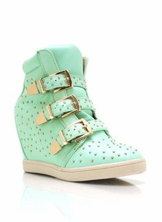 Studded High-Top Wedge Sneakers